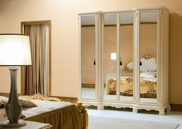 Bedroom Wardrobe Cabinets Furnished With Queen Bed Placed Between Giant Night Lamp On Minimalist Sideboard Images 57