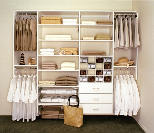 Closet Storage Ideas Appealing Clothes Hangers And White Shelves For Floating Closet Storage On White Wall  Image 34