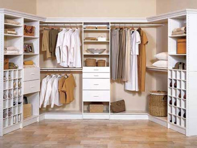 Clothes Wardrobe Furniture Walk In Closet Small Space U Shaped White Finish Maple Walk Large Photos 01