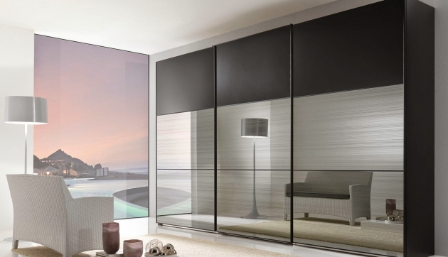 Large Wardrobe Armoire Bedroom Square Black Stained Laminate Wooden Wardrobe With Large Mirror Photo 53