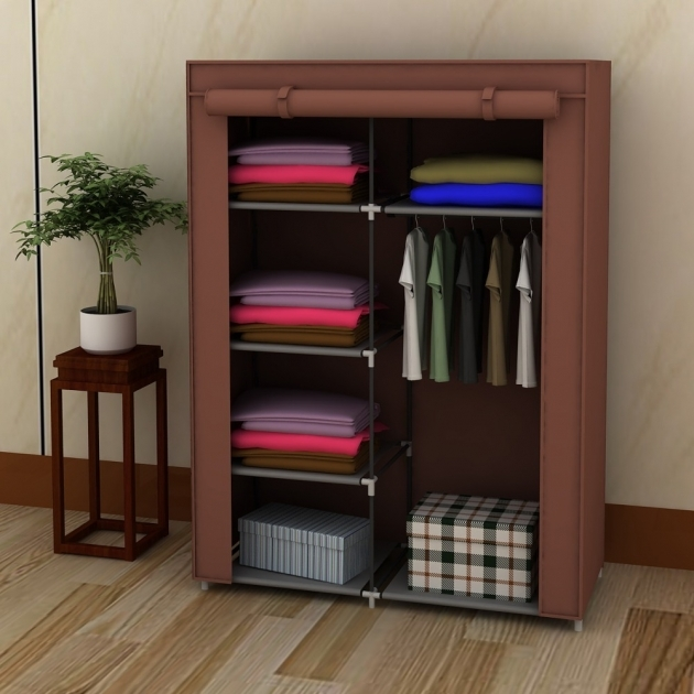 Storage Wardrobe Closet 42 Portable Home Wardrobe Storage Closet Organizer Rack With Shelves Brown Pics 02
