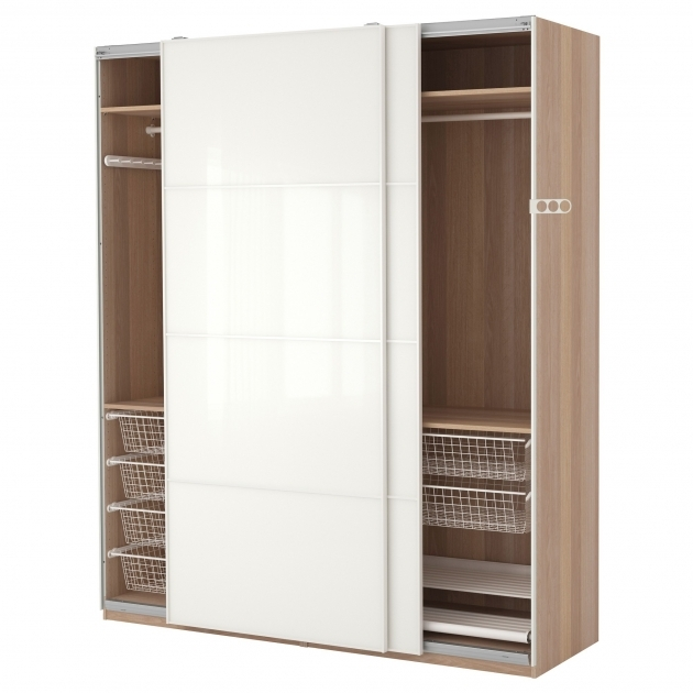 Storage Wardrobe Closet Furniture Brown Wooden Wardrobe With Aluminum Drawers And White Sliding Doors Images 51