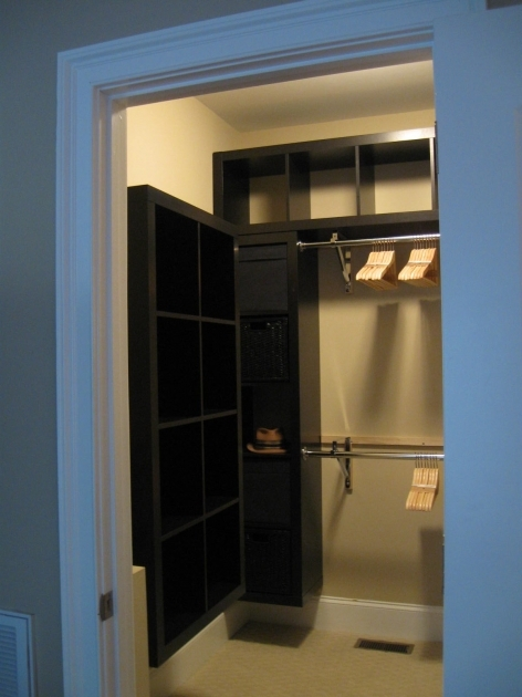 Walk In Closet Ideas For Small Black Hardwood With Floating Open Shelf On Cream Painted Photos 78