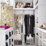 Walk In Closet Ideas For Small Interior L Shaped White Lacquer Oak Wood Wardrobe Without Door Having Shelves Pictures 94