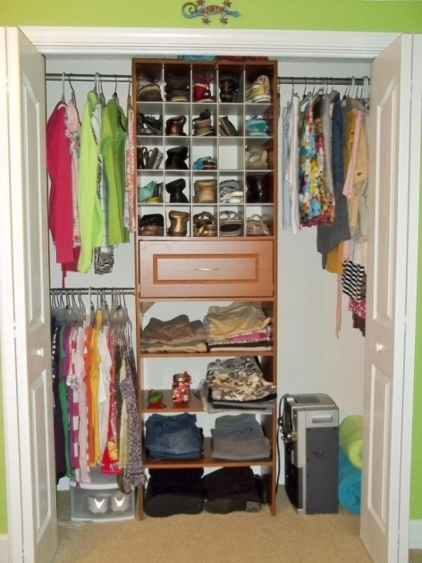 Walk In Closet Ideas For Small Spaces Brown Wooden Shelving With Single Drawer And Racks Pic 08