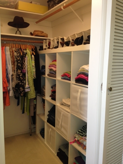 Walk In Closet Ideas For Small With White Wooden Racks Also Hanging Clothes Pictures 28