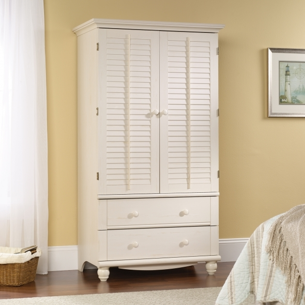 White Armoire Wardrobe Furniture Sauder Antiqued White Finish Picture 41