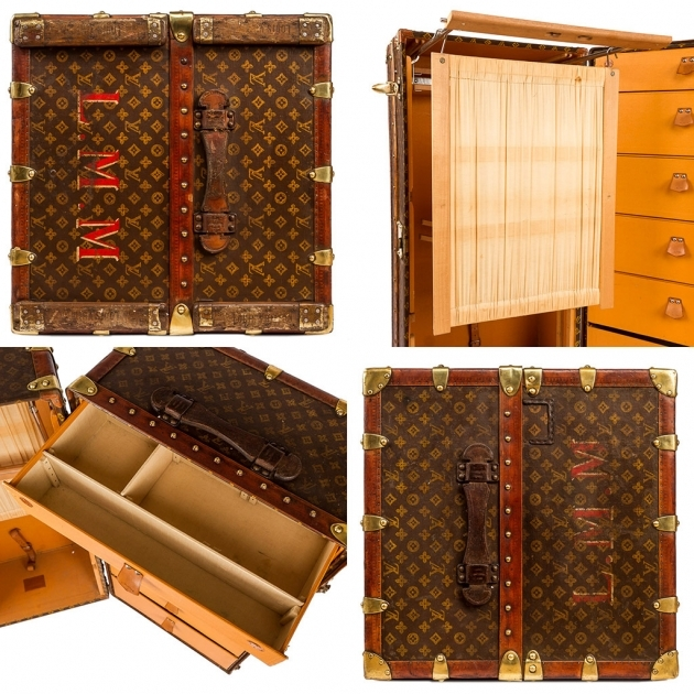 Antique Wardrobe Trunk 20th Century Rare Louis Vuitton Monogram Pics 24