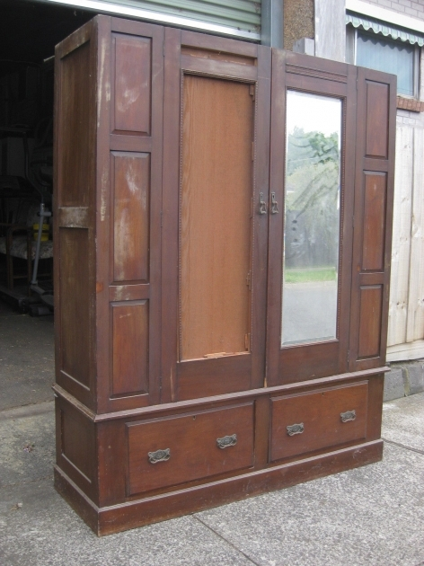 Antique Wardrobe With Mirror Old Vintage Antique Wardrobe Double Doors One Bevelled  Image 26
