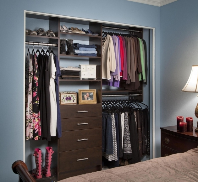 Closet Shelving Ideas With Metal Hang Rods And Wooden Shoes Shelves Also Four Level Drawers Pics 89