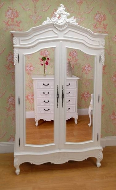 White Wardrobe Armoire French Armoire Wardrobe Furniture With Double Mirrors Images 77