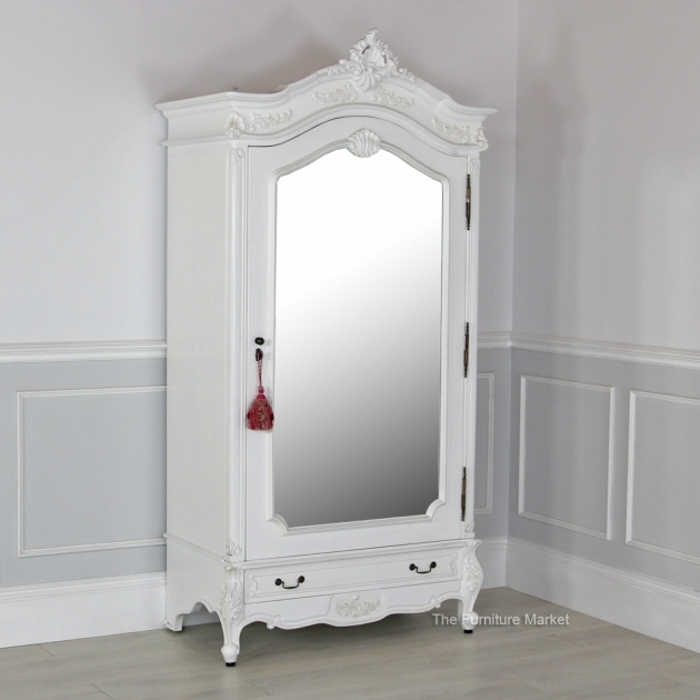 White Wardrobe Armoire With Mirror White Painted 1 Door Main French Chateau Mirrored Armoire Photos 63