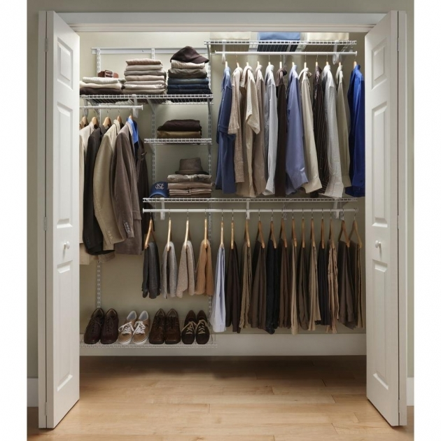 Closet Shelf Organizer Closetmaid Shelftrack 5 Ft 8 Ft Closet Organizer Kit With Shoe Image