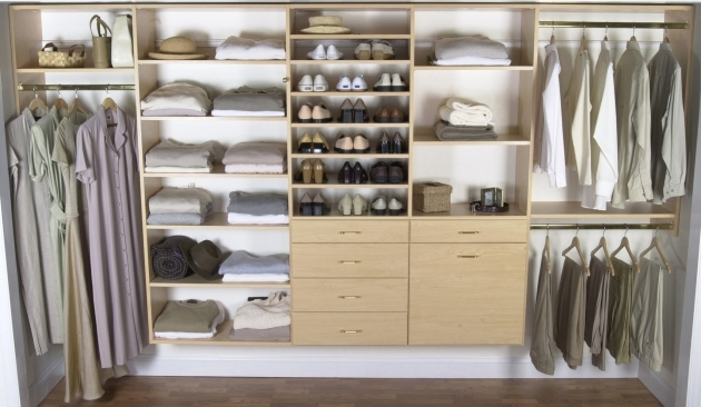 Closet Storage Shelves Floating Light Brown Brown Wooden Closet With Drawer And Shoes Picture