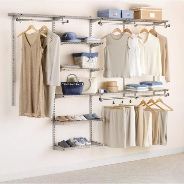 Rubbermaid Closet Organizer Rubbermaid Configurations Custom Closet 3 6 Ft Satin Nickel Photos
