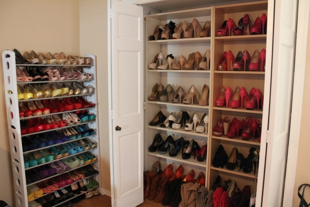 Shoe Storage In Closet Creative Closet Shoe Shelves With Nine Shoe Racks With Unique Image