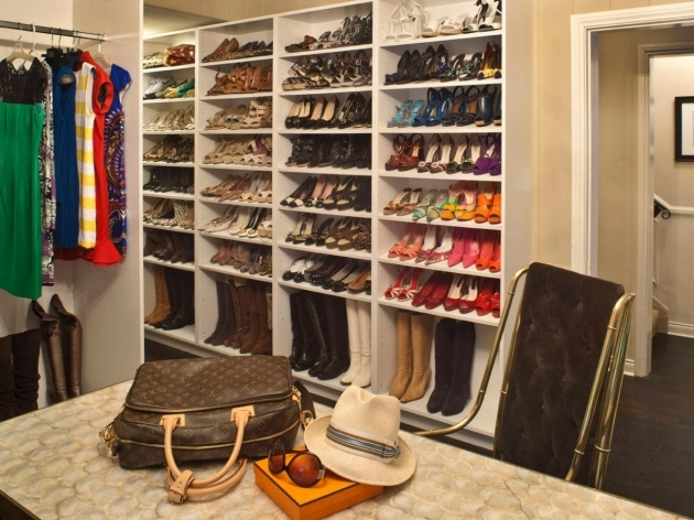 Shoe Storage In Closet White Solid Wood Open Shelves For Shoe Storage Having 8 Tier Racks Picture