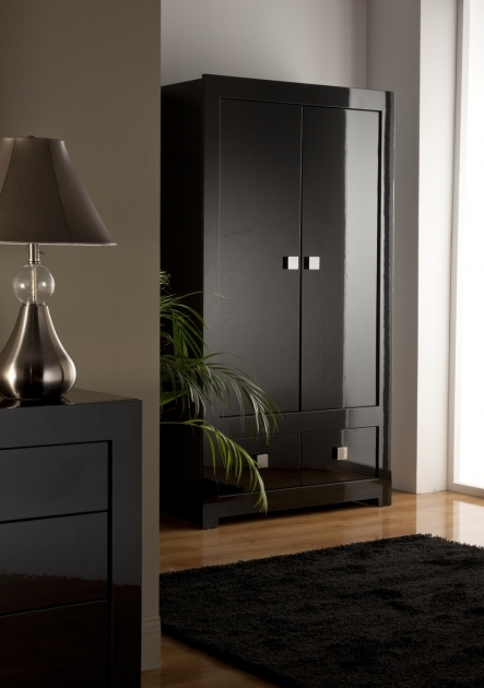 Black Wardrobe Armoire Decoration Modern Elegant Room With Grey Wall Color Interior Photos
