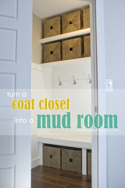 Coat Closet Storage Turn A Coat Closetinto The Perfect Mudroom Make It And Love It Photos