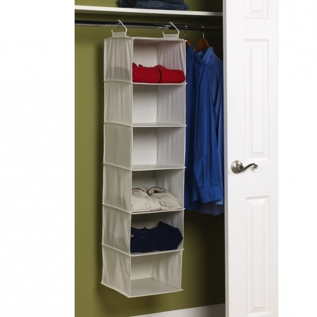 Hanging Closet Storage Simple Bedroom With Household Essentials 6 Shelf Hanging Closet Photo