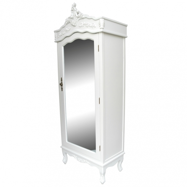 Mirrored Armoire Wardrobe French White Chateau Shab Chic Mirrored Single Door Armoire Image