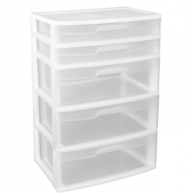 Plastic Storage Closet Sterilite 5 Drawer Wide Tower White Wheels Not Included Images