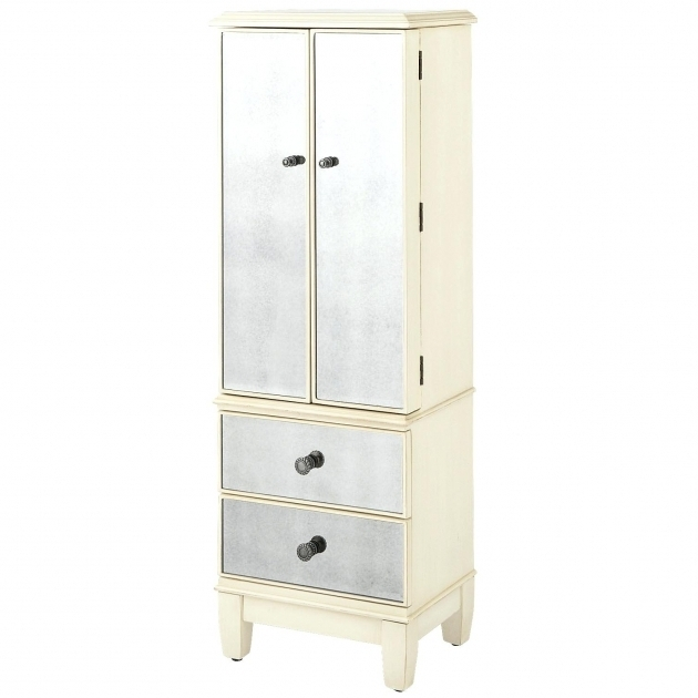 A04 Mission Style Jewelry Small Armoire Wardrobe  Hayworth Mirrored Antique White Pics