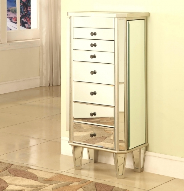 A73 Sauder Small Armoire Wardrobe Standing Jewelry Mirrored Chest Pic