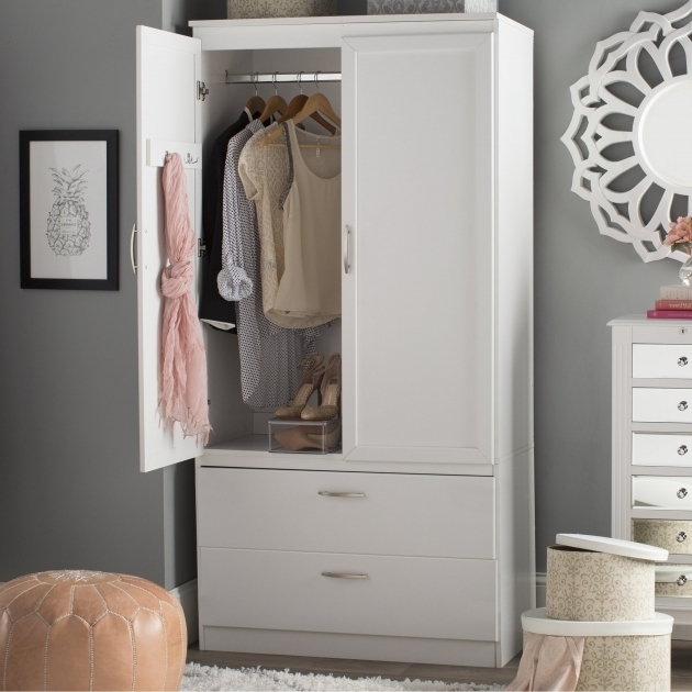 T41 Contemporary Small Armoire Wardrobe 3 Storage Spaces 2 Adjustable Shelves 2 Large Drawers 2 Hooks Behind Door Images