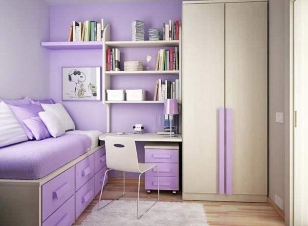Fantastic Splendid Small Bedroom Decorating Ideas Envisioned Purple Themed Wardrobe With Study Table Designs Pic