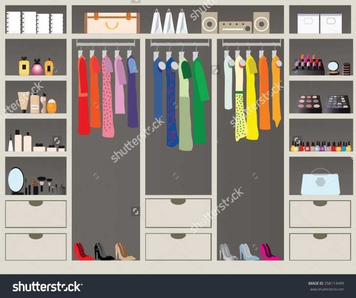 Amazing Flat Design Walk Closet Shelves Accessories Stock Vector 358114499 Closet Shelves And Accessories Picture