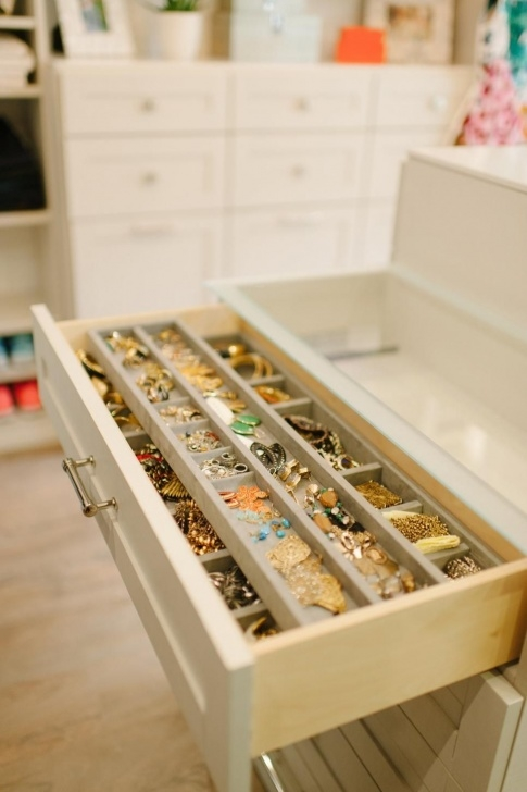 Astonishing Custom Drawers Organize Jewelry And Accessories In This Walk-In Closet Accessories Organizers Image