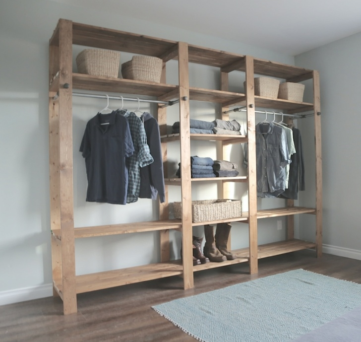 Awesome Industrial Style Wood Slat Closet System With Galvanized Pipes   Ana Free Standing Closet Systems Image
