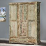 Best Woodsburgh White Washed Reclaimed Wood Large Wardrobe Large Wardrobe Armoire Picture