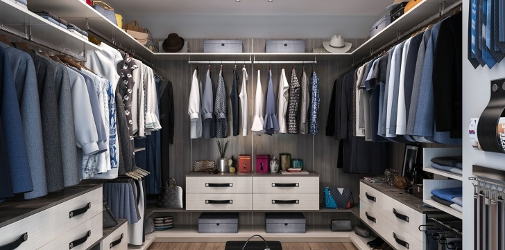 Brilliant Finesse Closet System | Modern Closet Design | Closet Factory Floating Closet System Picture