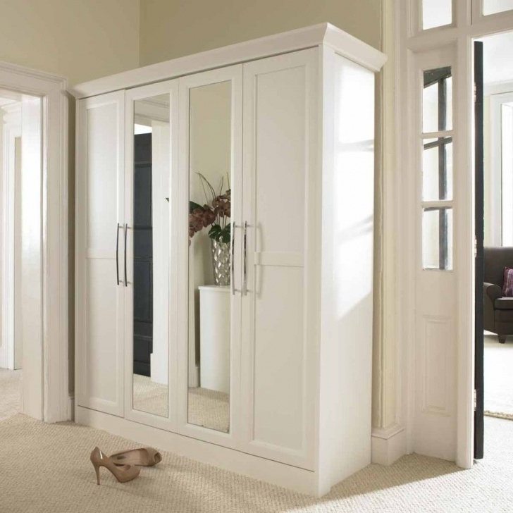 Excellent Furniture: Plain White Wardrobe Armoire With Mirror And Chrome Mirror Wardrobe Armoire Image