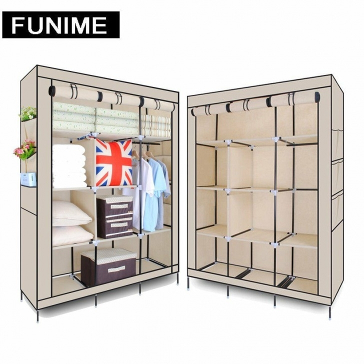 Fantastic Canvas Wardrobe Clothes Hanging Organizer Storage Shelves Large Triple Modular Metal Framed Fabric Wardrobe Jute Effect Picture