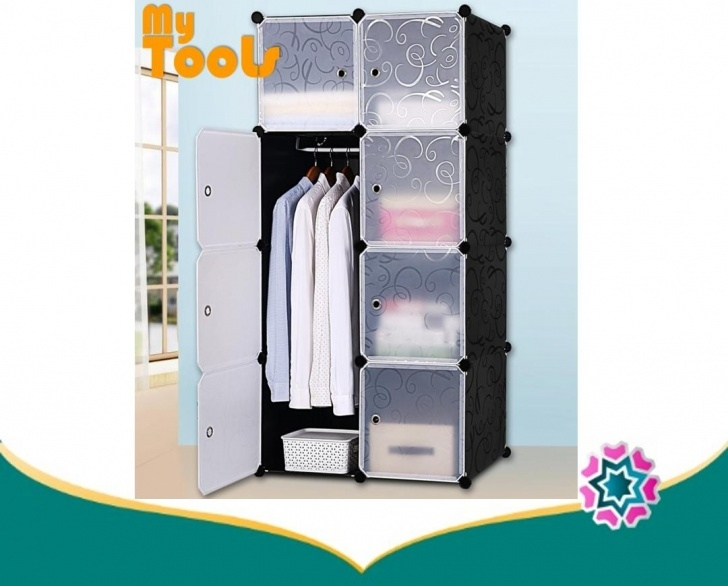 Gorgeous Cabinet 8 Cubes Black Stripes Diy Wardrobe Black Stripes (Foc: 1 Hanger) Diy Wardrobe Malaysia Image