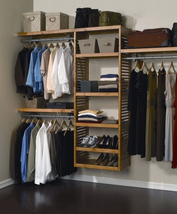 Image of Closet & Storage : Simple Wall Mounted Wooden Shelving Ideas For Closet Systems For Wall Photo