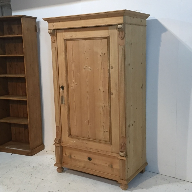 Image of Single Antique Pine Wardrobe With Bottom Drawer (S0504C) | Antique Single Pine Wardrobe Picture