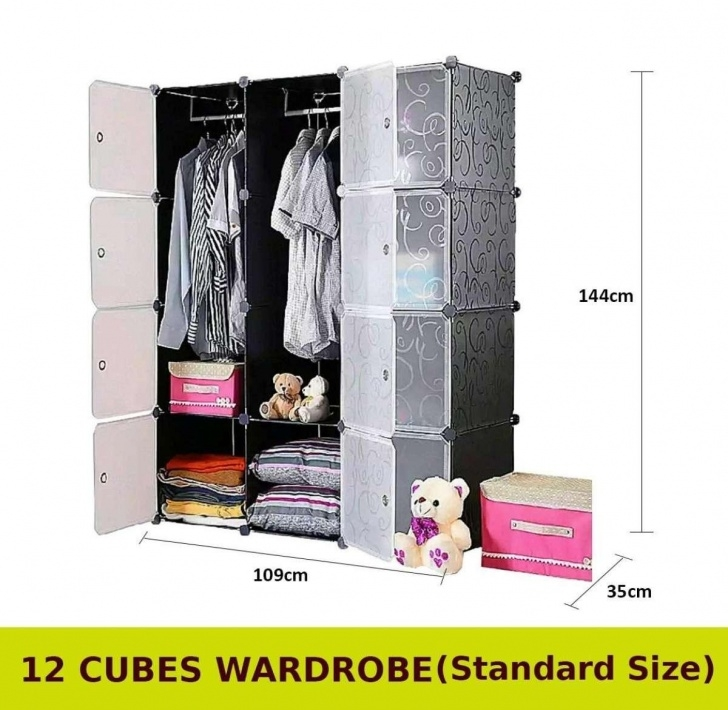 Inspiring Cabinet 12 Cubes Black Stripes Diy Wardrobe Black Stripes (Foc: 2 Hangers) Diy Wardrobe Malaysia Image