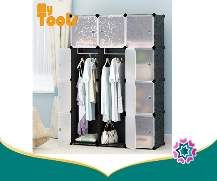 Inspiring Cabinet 12 Cubes Black Stripes Diy Wardrobe Black Stripes (Foc: 2 Hangers) Diy Wardrobe Malaysia Picture