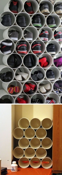 Inspiring Pvc Pipe Shoe Storage | Organizing | Diy Shoe Storage, Diy Shoe Rack Shoe Storage Ideas For Small Closets Picture