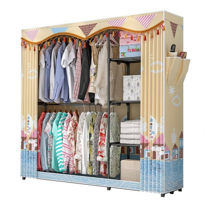 Marvelous 68'' Portable Combination Closet Storage Fabric Wardrobe Colthe 68 Wardrobe Closet Image