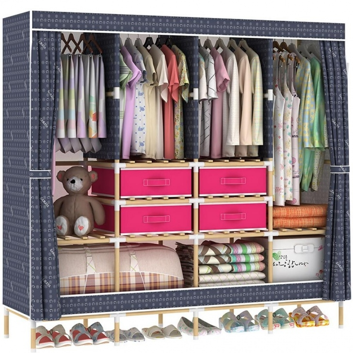 Outstanding 2019 Hhaini Huge Wooden Portable Closet 4 Rods Bedroom Wardrobe Wardrobe Wooden Portable Picture