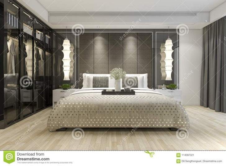 Outstanding 3D Rendering Luxury Modern Bedroom Suite Tv With Wardrobe And Walk 3D Designs For Bedroom Wardrobes Picture