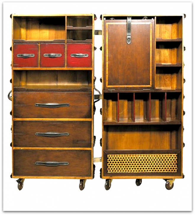 Outstanding Traveling Wardrobe Steamer Trunk W/ Drawers | Laundry Shoppe Reproduction Steamer Wardrobe Trunk Pics
