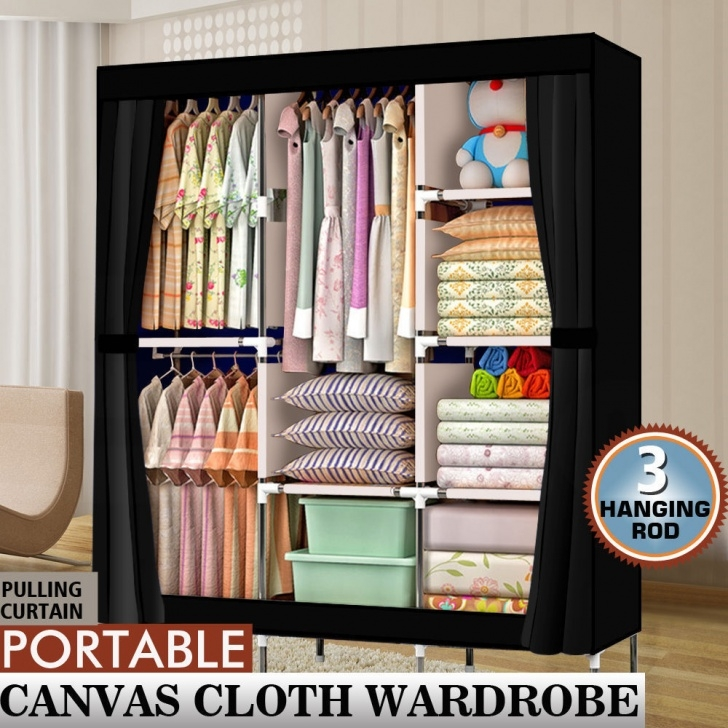 "Picture of 71"" Portable Closet Wardrobe Clothes Rack Storage Organizer With Portable Storage Closets Buy Bactroban Photo"