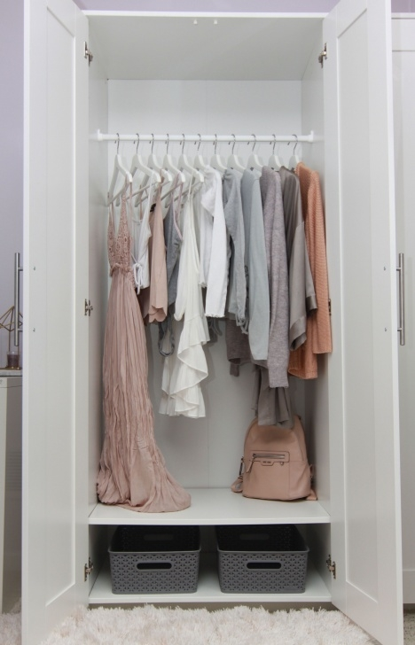 Remarkable A's Modern Bedroom Reveal. Minimalist Wardrobe Shades Of Neutral Small Student Wardrobe Photo