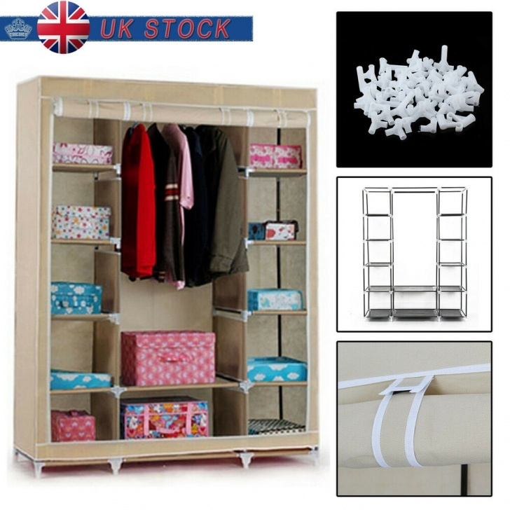 Remarkable Large Fabric Canvas Wardrobe With Hanging Rail Shelving Clothes Triple Modular Metal Framed Fabric Wardrobe Jute Effect Pics